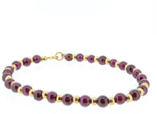 Red Garnet Natural Bead Bracelet 14K Yellow Gold Beads and Clasp
