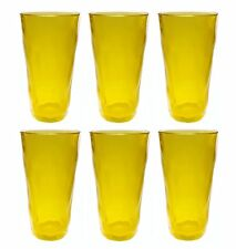 QG 22 oz. Clear Jelly Yellow Acrylic Plastic Cup Drinking Glass Tumbler Set of 6