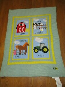 """GREAT JOHN DEERE EMBROIDERED YOUTH CRIB QUILT BY JOHN DEERE 48"""" X 37"""""""