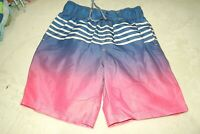 REBEL ~ BOYS BLUE & BRIGHT PINK SWIM SURF BEACH SHORTS ~ AGE 11 - 12 YRS