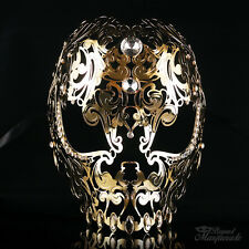 Full Face Skull Mask - Day of the Dead Masquerade Mask for Unisex M7153 [Gold]