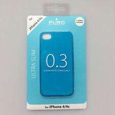 BACK CASE ULTRA SOTTILE 0.3 Custodia Protettiva per iPhone Apple 4 4S BLU PURO