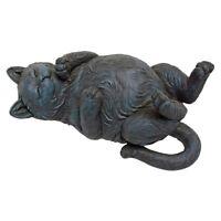 Lazy Fat Cat Statue Happy Feline Smiling Kitty Animal Home Garden Sculpture