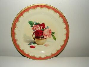 Vintage Tin Tray Floral Roses Baret Ware Made In England Granny Chic Cottage
