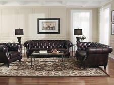 Chesterfield Couch Polster Sofas Klassische Leder Sofagarnitur 3+2+1 Sitzer - 33