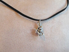 Hockey Player Goalie Pewter Charm Faux Suede Necklace - Additional colors avail