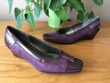 Van Dal purple patent leather suede wedge court shoes UK 4.5 D EU 37.5 New