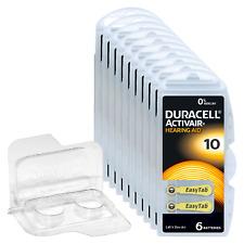 60 Duracell Activair Hörgerätebatterien PR70 gelb 10 + Transportbox für 2 Zellen