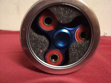 "Metal Triangle Hand Spinner 3 "" Fidget Toy in tin container  Blue"