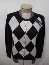 100% Cashmere Cardigan Sweater Apt 9 Button Argyle Black White Red Crew XL Women