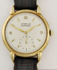 Rare 14k Gold Tiffany & Co Bumper Automatic Vintage 1950s Mens Running Watch