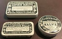 Three Vintage CLOVERINE Brand Medicine Tins- empty -Advertising