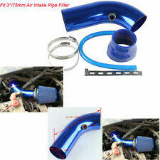 "75mm/3"" Short Ram Air Intake Induction Pipe Filter Breather Tube Set Blue"