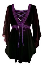 Dare to Wear BEWITCHED Chiffon Sleeves Asym Corset Top PURPLE Fit 12-14