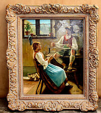 MAGNIFICENT 1900'S EUROPEAN OIL ON CANVAS PAINTING BY E. RAZA