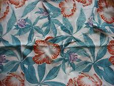 Vintage Cotton Blend Fabric LG ORANGE FLORAL/TURQUOISE