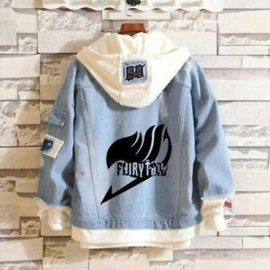 Anime Denim Hoodie Jacket Coat Cosplay costume Unisex FAIRY TAIL//