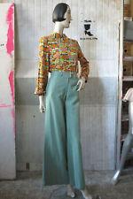 synfan Schlaghose high waist Synthetik mint 70er True VINTAGE 70s flares pants