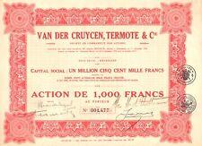 Van Der Cruycen, Termote & Cie. Societe par Actions, accion, 1928 (Bruxelles)