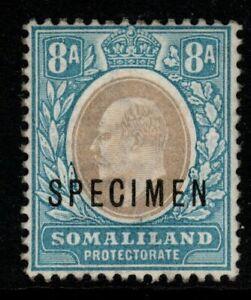 SOMALILAND SG39s 1904 8a GREY-BLACK & PALE BLUE SPECIMEN MNH