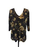 Karen Kane 1X V-Neck Top Blue Cream Black Floral  3/4 Sleeves Semi Sheer