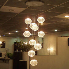 Modern Large LED Staircase Chandeliers  Glass Globe Ball Ceiling Lamp Lighting