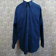 Monsieur By Givenchy Mens Dress Shirt Size 15.5 32/33 Navy Blue Cotton Blend