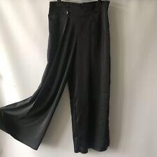 ASOS Wide Leg Trousers Palazzo Pants Black Silky Satin Tailored Waist UK 8 23L