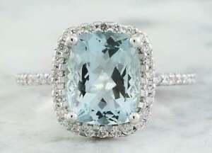 4Ct Cushion Cut Aquamarine & Diamond Halo Engagement Ring 14K White Gold Finish