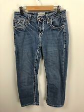 LA Idol - BLING Thick Stitch Jeans Cropped Juniors Size 7