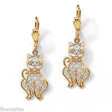 18K GOLD PLATED FILIGREE CAT DROP PIERCED EARRINGS