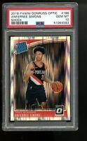 2018 Panini Optic Shock #186 Anfernee Simons Blazers Rated Rookie Card RC PSA 10