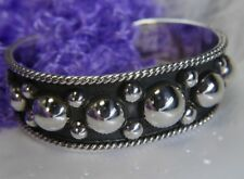 """Very Sturdy wide Hand Crated beaded work 0.925 STERLING SILVER 7"""" CUFF BRACELET"""