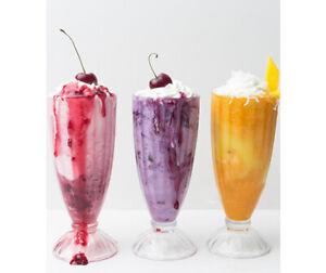 6pc set Sundae, Bubble Tea, Cocktails, Ice-Cream Traditional Thick Glasses 320ml