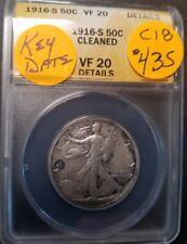 1916 S  VF20 Certified Walking Liberty Half Dollar C18
