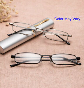 2 Pairs Reading Glasses Thin Reader Glasses Unsex Tube Hard Case Color may vary.