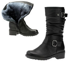 Stiefel Winterstiefel Damenschuhe Boots Schuhe Warm Gefüttert Leder-Optik Neu