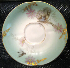 2x Gorgeous vintage Fischer & Mieg saucers with dragonfly design approx 4.25ins