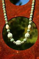 Carved fluted faux jade - lucite bead Art Deco  NECKLACE