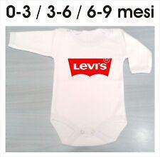 body bodino man.lun neonato pagliaccetti BABY logo Levi's Levis 3-6-9 mesi