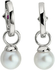 ELLE Cultured Freshwater Pearl Sterling Silver Huggie Hoop Earrings
