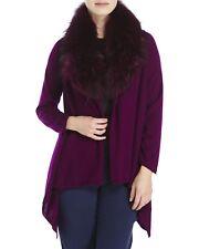 Alice + Olivia Izzy Raccoon Fur Collar Purple Cardigan Wool Cashmere Size L NWT