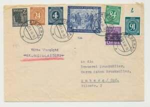 Bizone Zehnfachfrankatur MiF alte + neue Währung, Posthörnchen FDC (50670)