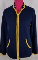Bob Mackie Wearable Art Zip Front Jacket Contrast Trim Navy Size XS