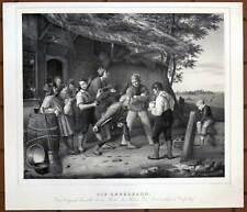 Kegeln - Kegelbahn - große Lithographie n. Pistorius um 1835