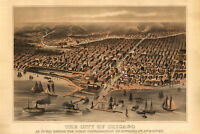 Chicago Before the Fire, 1872 Antique Perspective or Bird's Eye Map