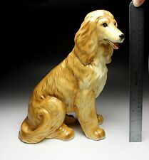 "12"" H Sitting Afghan Hound Red Coat Large Statue Porcelain Dog Figurine Japan"