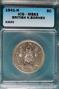 1941-H ICG MS63 British North Borneo 5 Cent KM#5! #B5096