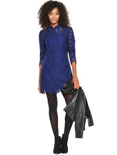 BNWT V by Very Blue All Over Lace Collared Dress Size 14 RRP £62