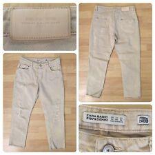 "Zara Basic Crop Denim Size 00 Distressed Jeans Inseam 24"" Cut off Bottom Leg"